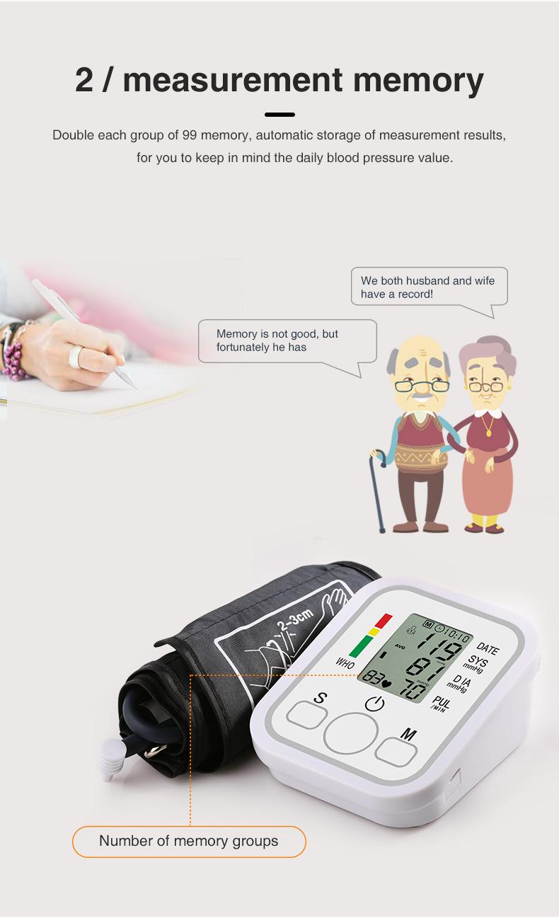 Measurement memory of blood pressure monitor